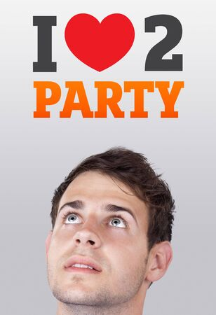 Young persons head looking with gesture at party icons and sign photo