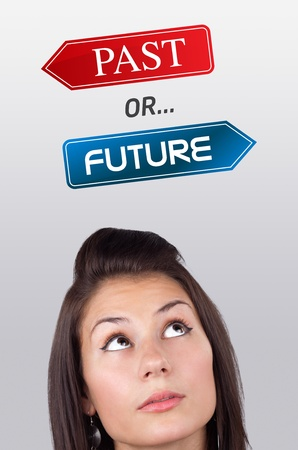 Young girl head looking with gesture at positive negative signs Stock Photo - 10687870