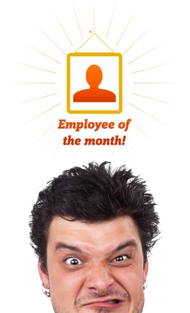 Young persons head looking with gesture at labor type of icons Stock Photo - 10688075