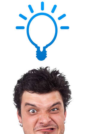 Young persons head looking with gesture at idea type of sign Stock Photo - 10687978