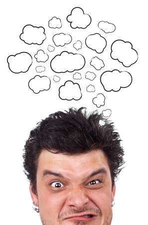 Young persons head thinking about white clouds Stock Photo - 10688124