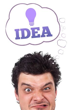 Young persons head looking with gesture at idea type of sign Stock Photo - 10688053