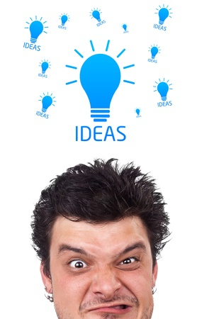 Young persons head looking with gesture at idea type of sign Stock Photo - 10688100