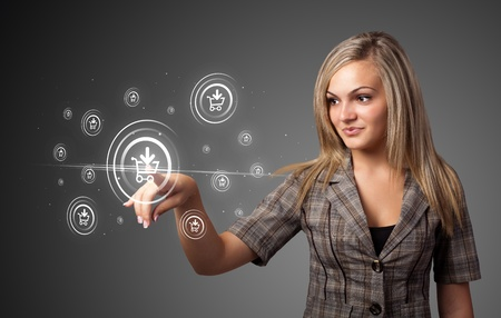 Businesswoman pressing promotion and shipping type of modern buttons Stock Photo - 10688232