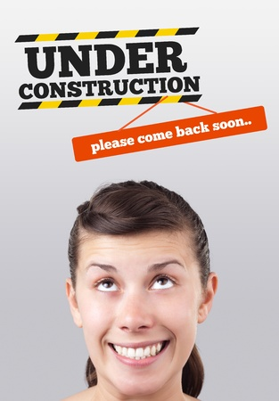 construct: Young girl head looking at construction signs
