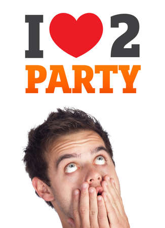 Young persons head looking with gesture at party icons and sign Stock Photo - 10717101