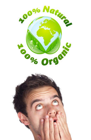 Young persons head looking at green eco sign Stock Photo - 10717051