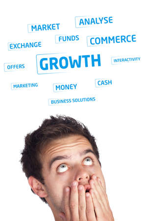 Young persons head looking at business icons and images photo