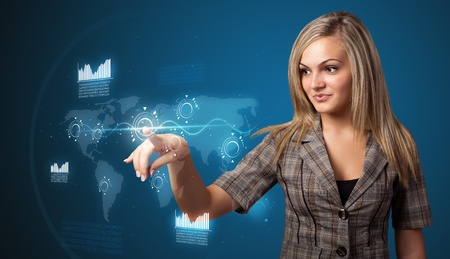 hitech: Businesswoman pressing high tech type of modern buttons on a virtual background
