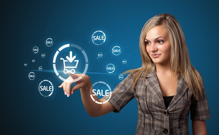 woman shopping cart: Businesswoman pressing promotion and shipping type of modern buttons Stock Photo