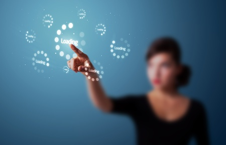 touchscreen: Businesswoman pressing simple start buttons on a virtual background