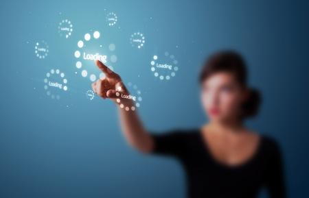 tech: Empresaria presionando los botones simples de inicio en un fondo virtual