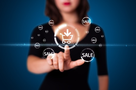 Businesswoman pressing promotion and shipping type of modern buttons Stock Photo - 10791828