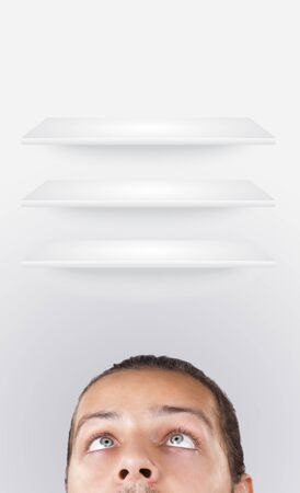 Young persons head looking at white copyspace photo