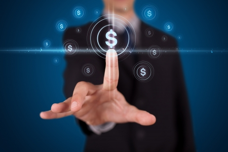 money exchange: Businessman pressing business type of modern buttons with virtual background