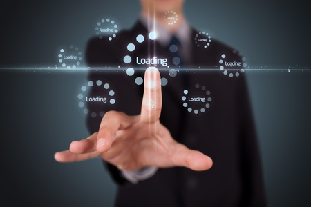 Businessman pressing simple start buttons on a virtual background photo