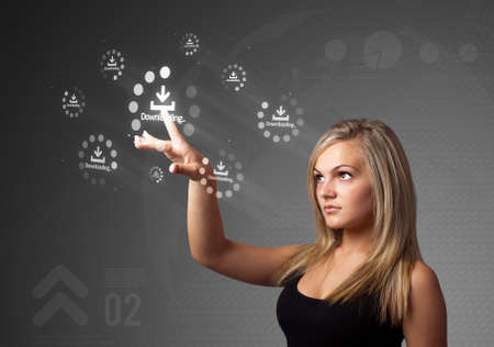 Businesswoman pressing simple start buttons on a virtual background photo