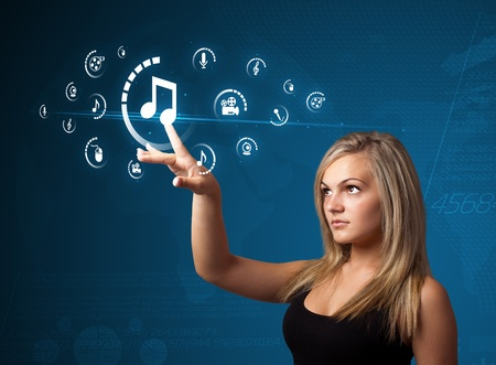 Businesswoman pressing multimedia type of modern buttons with virtual background photo