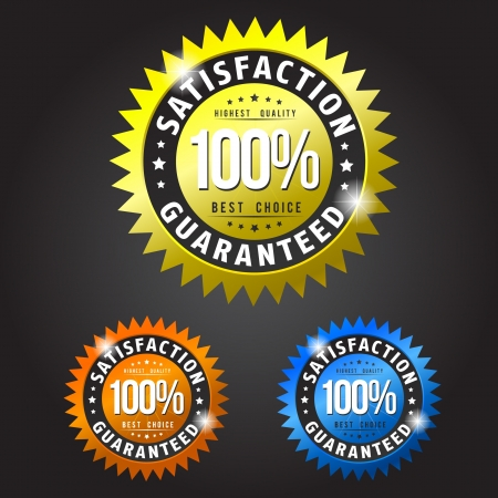 Satisfaction guarantee gold, orange and blue patches Vector