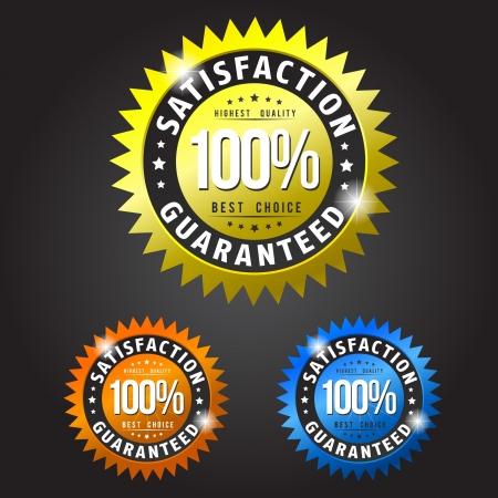 zufriedenheitsgarantie: Zufriedenheitsgarantie gold, orange und blauen Flecken Illustration