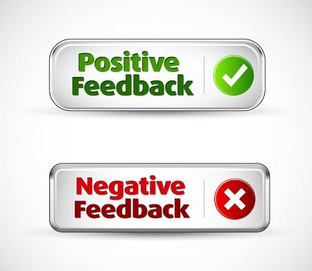 Positieve en negatieve feedback kleurrijke banner knoppen