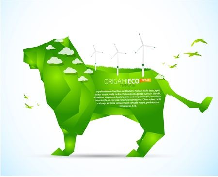 Eco friendly green origami lion template Vector
