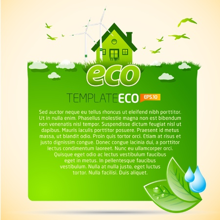 clean sky: Green eco template with house icon Illustration