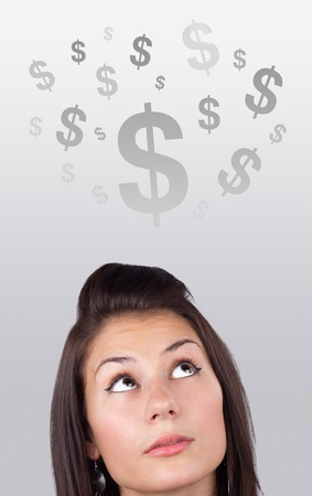 Young girl head looking at business icons and images