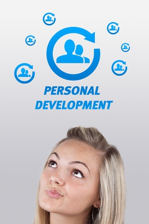 Young girl head looking with gesture at labor type of icons Stock Photo - 10909194