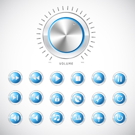 inactive: Blue modern media button collection with volume control handle