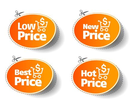 Orange price tag and sticker collection Stock Vector - 10909024
