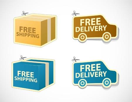 Livraison gratuite et des autocollants et des badges de livraison Vecteurs