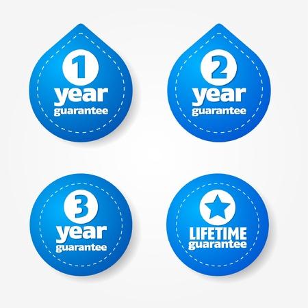 Blue garantie label en sticker collectie Vector Illustratie