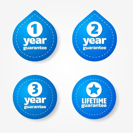 1 year warranty: Blue warranty label and sticker collection