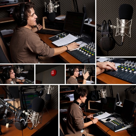 Raccolta di uomo coperto Radio DJ a studio radiofonico