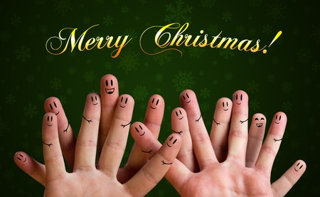 Merry christmas happy finger group with smiley faces photo