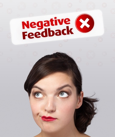 Young girl head looking with gesture at positive negative signs photo