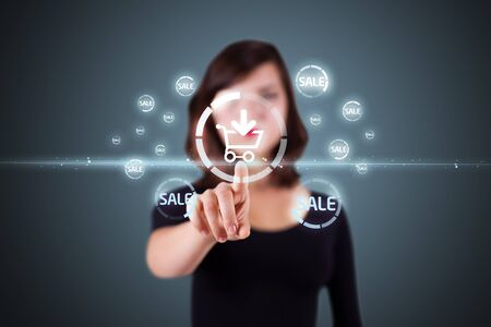 touch screen hand: Businesswoman pressing promotion and shipping type of modern buttons Stock Photo