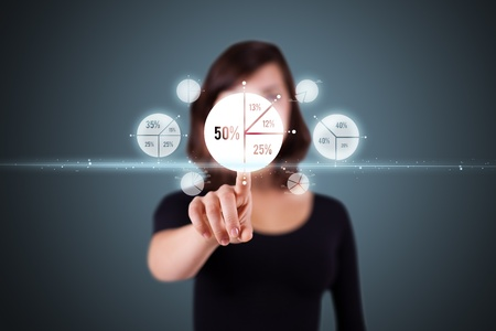 business concept: Businesswoman pressing business type of modern buttons with virtual background