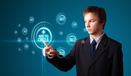 Businessman pressing modern social buttons on a virtual background Stock Photo - 11969588