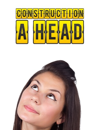 Young girl head looking with gesture at idea type of sign photo