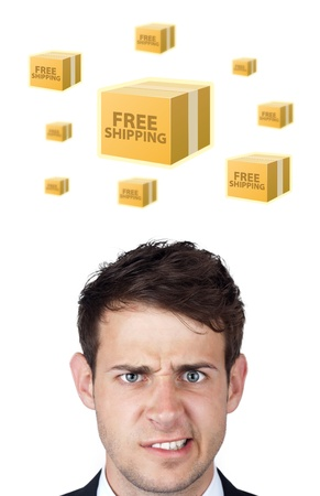 Young persons head looking with gesture at shipping and order signs photo