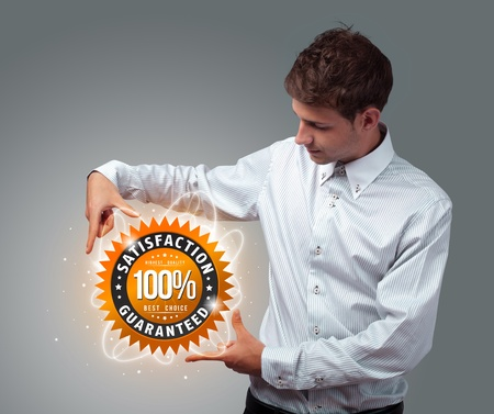 advantages: Young businessman holding virtual business sign
