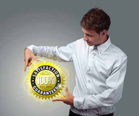 finest: Young businessman holding virtual business sign