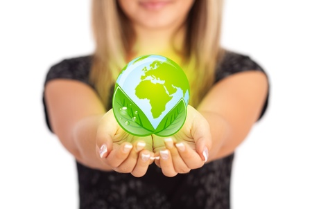 hands holding earth: Woman hands holding ECO sign, Concept Save green planet. Symbol of environmental protection