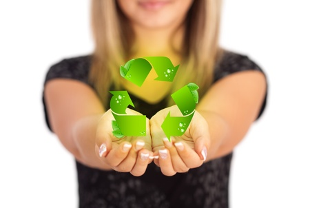 Woman hands holding ECO sign, Concept Save green planet. Symbol of environmental protection Stock Photo - 11985426