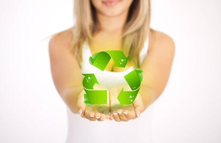 Woman hands holding ECO sign, Concept Save green planet. Symbol of environmental protection Stock Photo - 11985430