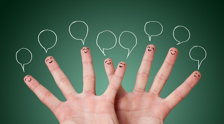 group objects: Funny finger smileys with bubbles over their head Stock Photo
