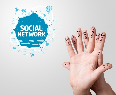 Happy finger smileys with social network sign Stock Photo - 11985484