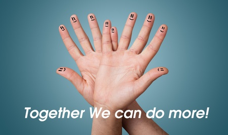 people working together: Happy group of finger smileys